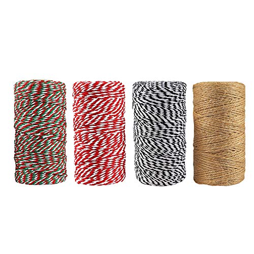 (Kapaski 4 Rolls Twine Cotton String Rope Cord Natural Jute for Wrapping DIY Arts Crafts Baker Twines for Holiday Gift Festive Decoration and Gardening)
