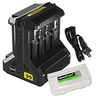 NITECORE i8 eight bays smart battery Charger for Li-ion / IMR / Ni-MH/ Ni-Cd 26650 22650 18650 18490 18350 16340 RCR123 14500 AA AAA AAAA C D USB with EdisonBright BBX3 battery carry case