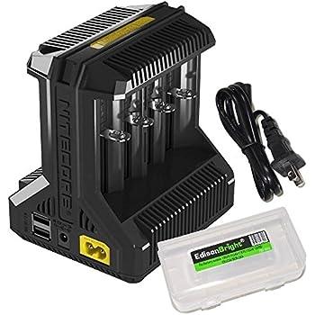 NITECORE i8 eight bays smart battery Charger for Li-ion / IMR / Ni-MH/ Ni-Cd 26650 22650 18650 18490 18350 16340 RCR123 14500 AA AAA AAAA C D USB with EdisonBright BBX3 battery carry case