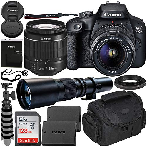 Canon EOS 4000D DSLR Camera with EF-S 18-55mm f/3.5-5.6 III Lens & 500mm Preset Lens Beginner's Bundle – Includes…