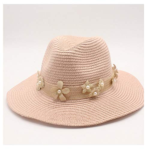 (Sun Hat Fashion Women Straw Baseball Cap England Pearl Flower Beaded Flat Straw Hat Women's Beach Hat Great (Color : Pink, Size : 56-58cm))
