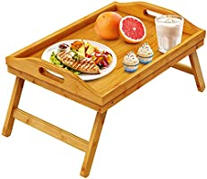Pipishell Bamboo Bed Tray Table Breakfast Serving Tray with Foldable Legs for Sofa, Bed, Food Eating, Working, Used As...