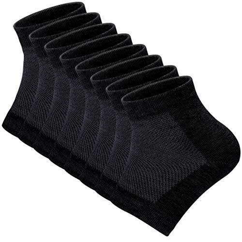 Gel Heel Sleeves Moisturizing Socks, CAPSPACE Breathable Cotton Open Toe Heel Moisturizer Socks fit Cracked Thick Calloused Dry Heels Feet fit Women and Men 4 Pairs (Black)
