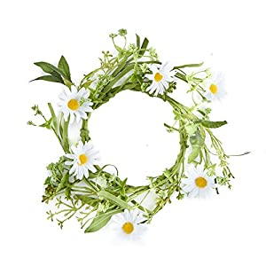 Artificial Spring Daisy Floral Candle Ring for Home and Spring Decor 4