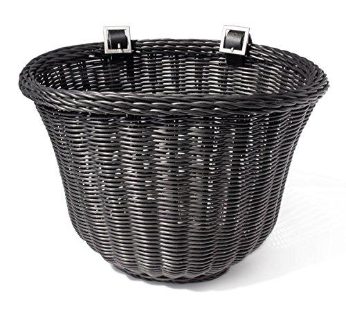 (Colorbasket 01327 Adult Front Handlebar Bike Basket, All Weather, Water Resistant, Adjustable Leather Straps, Food-Contact Safe, Black)
