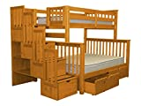 Bedz King Stairway Bunk Beds Twin over Full with 4 Drawers in the Steps and 2 Under Bed Drawers, Honey Review