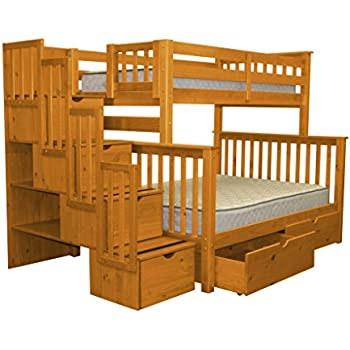 twin over queen loft bed plans with desk wood king stairway bunk full drawers steps under honey