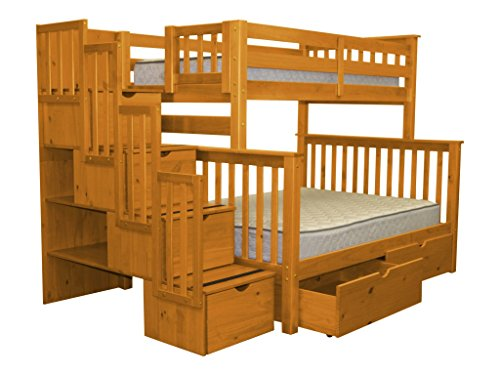 Bedz King Stairway Bunk Beds Twin over Full with 4 Drawers in the Steps and 2 Under Bed Drawers, Honey