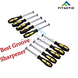 FITactic® MX60 (10-pack) Golf Club Iron Wedge Groove Regrooving Sharpener Cleaner Tool + one FREE Sharpening HEX Head