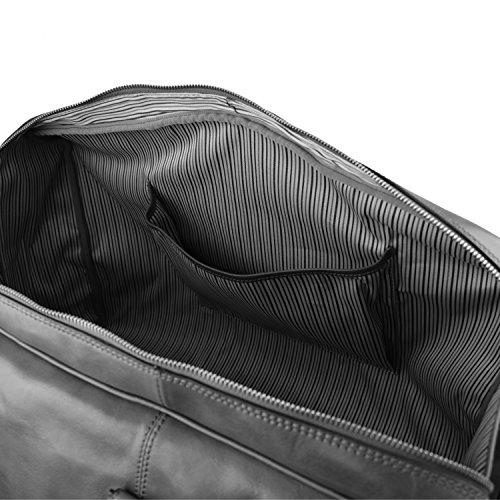 Tuscany Leather - TL Voyager - Sac de voyage en cuir avec poche frontale - Marron foncé