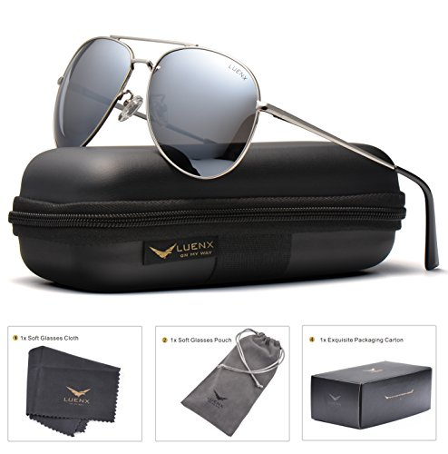 LUENX Sunglasses Aviator Polarized for Men & Women with Case - 400 UV Silver Lens Metal Gloss Silver Frame Colored 60mm