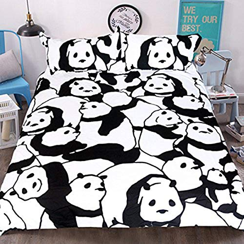 Sleepwish Panda Bear Bedding Kids Bedspreads Twin Size Dorm Room Bedding 3 Piece Black White Duvet Cover with Pillow Cases (Sets Black Double Bedding And White)