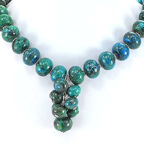 Ny6design 008 Blue/Green Chrysocolla Pendant Long Necklace Silver Plated Toggle Clasp 18.5