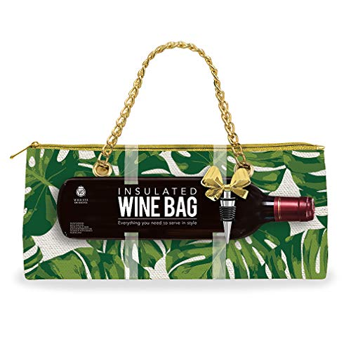 Tropical Botanical Leaf Green 12 x 3 Insulated Fabric Wine Bag and Stopper Set
