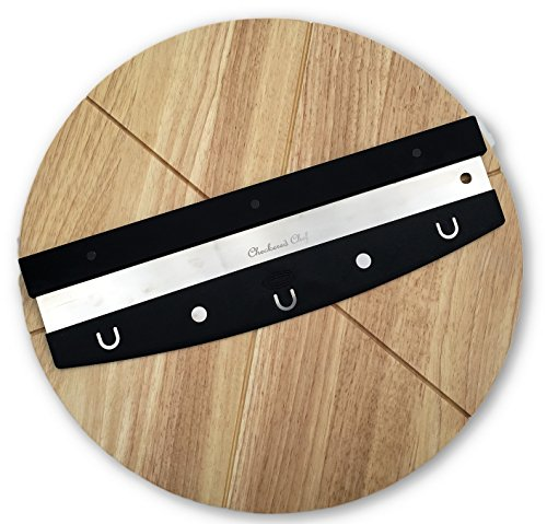 Checkered Chef Premium Pizza Cutter and Cutting Board Set - Rocker Blade With Protective Cover And Round Wooden Pizza (Chopping Blade)