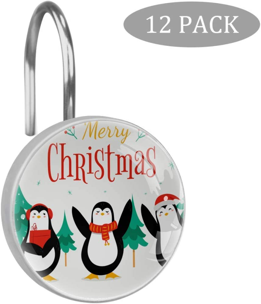Merry Christmas Penguin Shower Curtain Hooks,12 PCS