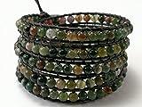 5 Wrap Leather Bracelet,Moss Agate, Beaded Bracelets,Womens Boho Jewelry, Bohemian wrap, Unisex bracelet- 34-36 inches