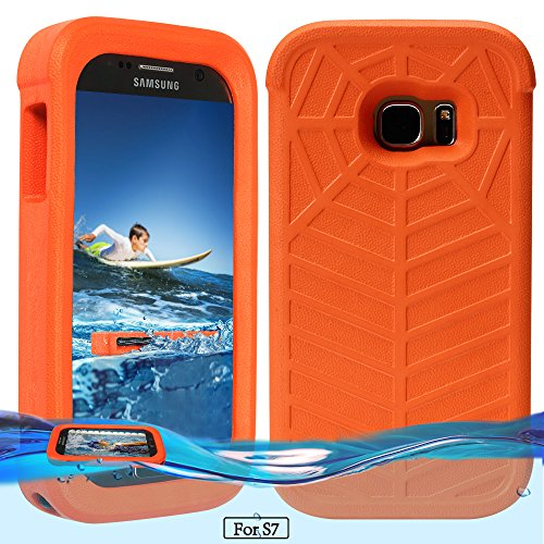 Temdan Samsung Galaxy S7 Floating Case with a 0.2mm Clear&Thin Waterproof Bag Shockproof Lifejacket Case for Samsung Galaxy S7 (5.1inch) -Orange