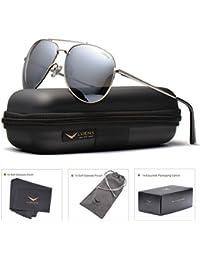 LUENX Aviator Sunglasses For Men Women Polarized with Case - UV 400 Protection 60mm