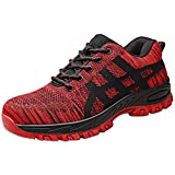 Mens Steel Toe Work Safety Shoes Slip-On Wear-Resistant Breathable Running Athletic Sneakers Flying Woven Mesh Tennis Shoe (US:10.5, Red)