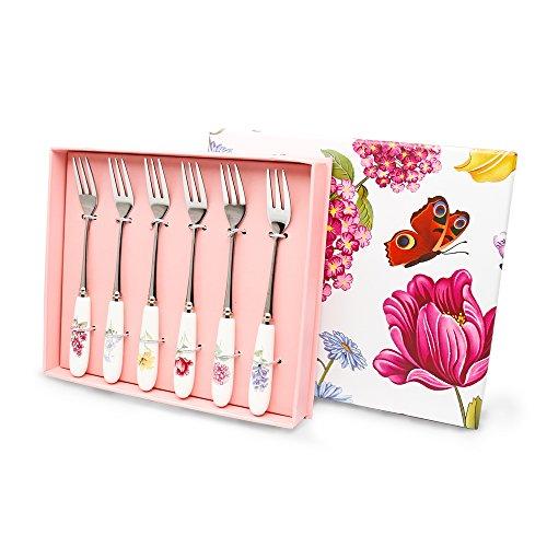 Elegant Life Flatware Set Herb Garden Ceramic Handle Cutlery Set Stainless Steel Tea Forks Sets 6 Set?Dessert Serving Utensils Ideal Gift