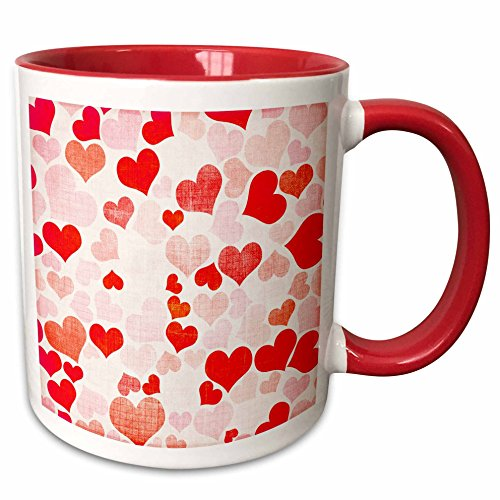 3dRose PS Creations - Collage of Hearts in a variety of colors - 15oz Two-Tone Red Mug (mug_123402_10)