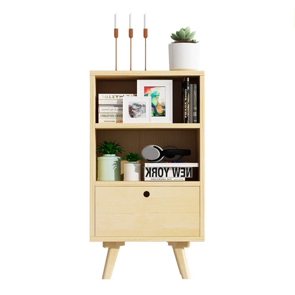 LQQGXLBedside Table Bedside Table Modern Minimalist Pine Double Open Storage + Drawer Storage Cabinet Small Side Table (Color : 2) by LQQGXL