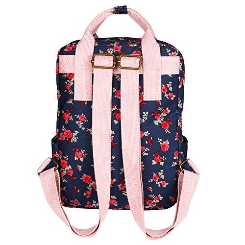 bb911f81bc Micoop Waterproof Floral Backpack Handbag Travel School Bag for Girls and  Women (Dark Blue Red
