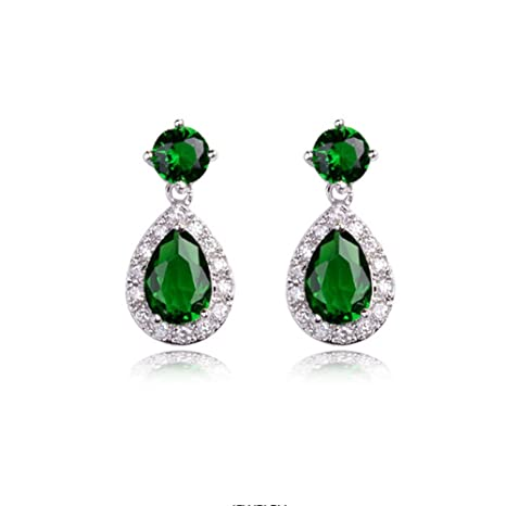 c03fe15e7 Image Unavailable. Image not available for. Color: Gift for Girls White  Gold Plated Teardrop and Round Shaped Emerald Green Swarovski Elements  Crystal Stud
