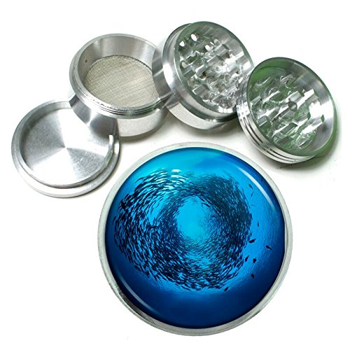 Fish School Em1 Silver Chrome 63mm Aluminum Magnetic Metal Herb Grinder 4 Piece Hand Muller Spices & Herb Heavy Duty 2.5''