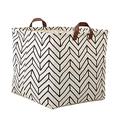 Square Canvas Toy Storage Bins Basket with Handle Collapsible Toy Organizer for Nursery Storage, Kid's Toy & Laundry, Gift Baskets (Geometric) - Material: made of linen & cotton fabric, lightweight and durable. Waterproof PE coating inner, which to achieve the effect of moisture resistant Size: 13inch(L) x 13 inch(W) x 13 inch(H),Convenient size with capacity of many items Easy to use: Collapsible design, can be easily folded when you don't use, and save space - living-room-decor, living-room, baskets-storage - 51F3 uv1DZL. SS400  -