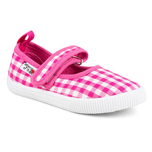 Chillipop SBM201P-PNKCHK-T8 Girls Mary Jane Canvas Sneakers - Pink Gingham Canvas Casual (Gingham Flat)