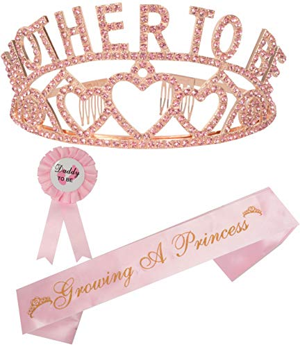 Mother to Be Tiara Gold Hearts Crown | Mom to Be Sash | Dad to Be Pin | Baby Shower Party Favors Decorations Gift Boy or Girl | Gender Reveals Party Gifts |Great for New Mom (Pink) ()