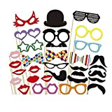 Msliy 31PCS DIY Photo Booth Props Birthday Wedding Holiday Party Supplies Decorations Mix of Hats Lips Crowns Mustaches and More (1)