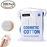 Premium Professional 100% All Natural Facial Cotton Square Pad, Double-Side Save Water Soft and Gentle Makeup Tools - 200 count Makeup Wipe Cotton Pads and 1 count Makeup Puff