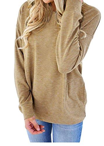 Shawhuwa Womens Long Sleeve Sweatshirt Loose T-Shirt Blouses Tops XXL Olive