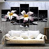 lglays(No Frame 5Panel Hd Printed White Water Lily Flower Printing On Canvas Landscape Painting For Home Living Room Decoration