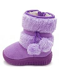 DADAWEN Little Girl's Bany Flat Pom Pom Ankle Boot (Toddler/Little Kid/Big Kid)