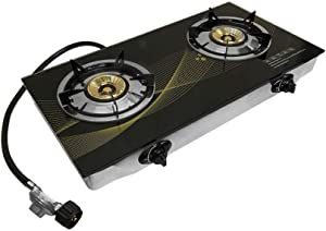 """Tempered Glass Propane Double Stove 2 Gas Burner 25k BTU 28"""" x 15"""" Cooktop Steel Body"""