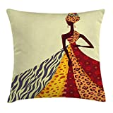 Ambesonne Modern Decor Throw Pillow Cushion Cover, African Girl Posing with a Dress of Different Design Patterned Image Artwork, Decorative Square Accent Pillow Case, 18 X 18 Inches, Multicolor