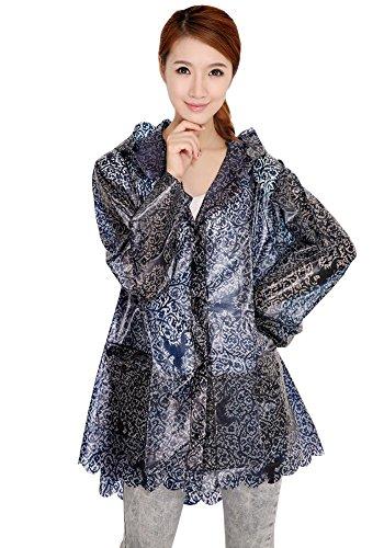 Bozevon Encapuchado Reutilizable Ropa Transparente Impermeable Negro Ligero Abrigo Poncho Mujer Viaje Exterior r7qwr8ZT