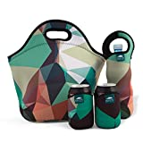 """camo cooker - Nordic by Nature Big Insulated Extra Large Neoprene Lunchbox Tote Lunch Bag Set: Tote + Bottle Sleeve + 2 Can Insulators   13,5""""   Reusable   Washable   Great For Lunchboxes & Snacks   Camo Design"""