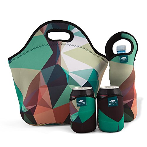 Nordic by Nature Big Insulated Extra Large Neoprene Lunchbox Tote Lunch Bag Set: Tote + Bottle Sleeve + 2 Can Insulators | 13,5"