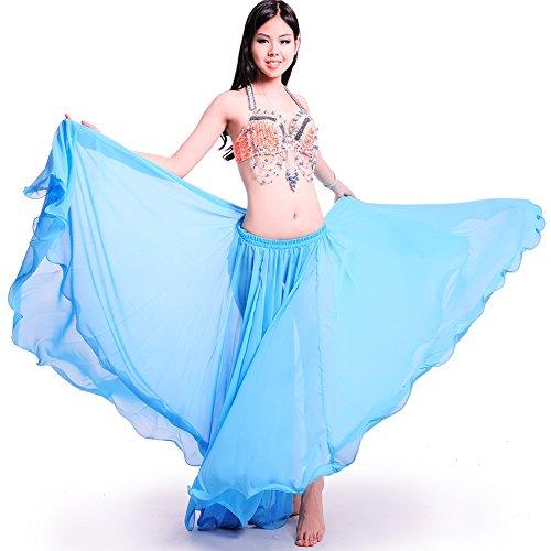 ROYAL SMEELA Women's Belly Dance Skirt ATS Voile Maxi Full Tribal Bellydance Chiffon Skirt (One size, Light Blue)