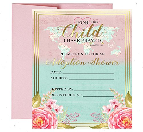 Gold Foil Floral Adoption Themed Baby Shower Party Supply -