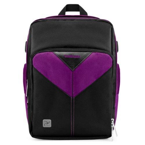VanGoddy Sparta Travel Backpack for Nikon Coolpix P990 / P610 / P900 / P530 / P600 / P7800 / P520 / P510 / P500 / P100 / P90 / P80 Digital SLR Cameras + Mini Tripod + Screen Protector Black & Purple