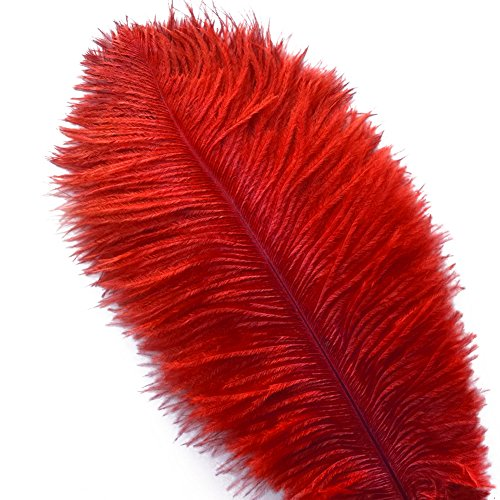 - Piokio 20 pcs Red Ostrich Feathers Plumes 10-12 inches(25-30 cm) for Wedding Party Centerpieces Home Decorations
