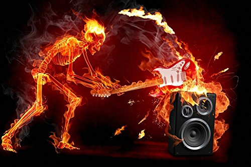 TST INNOPRINT CO Flaming Skull Guitar Rock Music Art Poster