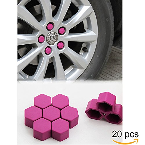 Tool Gadget 20-pcs Car Wheel 19mm Hub Lugs Nuts Bolts Silicone Cover - Super Sleek Cute Protective Cap Dust Protective Tyre Valve Screw Cap Cover -Purple