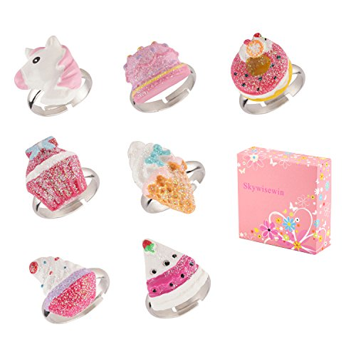 Set Crown Ring - Skywisewin Little Girls Rings Adjustable - Children Cute Crown, Pizza, Ice Cream, Pizza Ring - Kid's Jewelry Set of 7 (Set of 7)